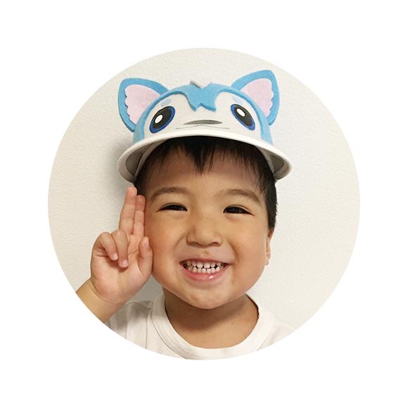 「ガラピコぷ〜」帽子 着用イメージ