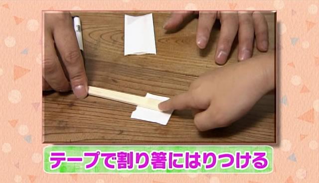 モグラをテープで割り箸にはりつける