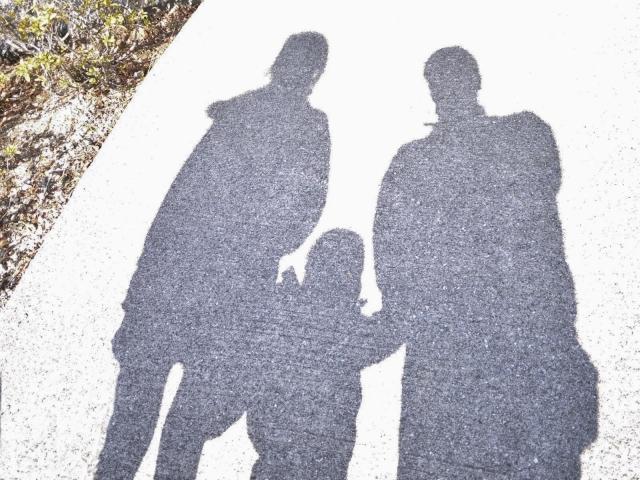 親子で手をつないで歩く影