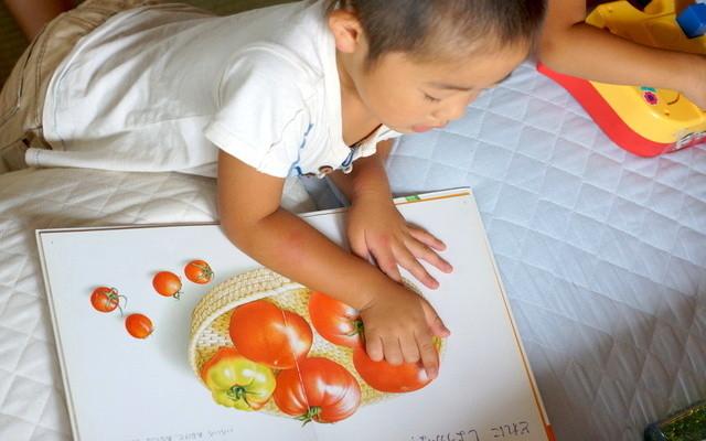 絵本の食べ物を見ている男の子